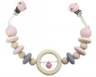 Pram chain, natural and pink